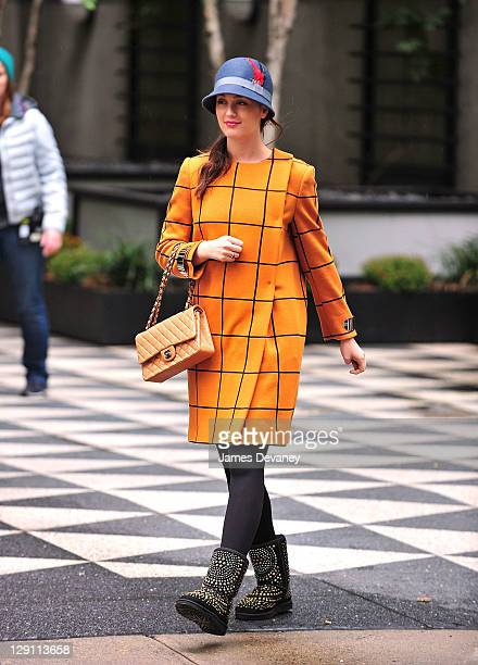 Leighton Meester is photographed on location for Gossip Girl on October 12 2011 in New York City