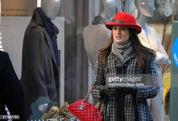 Leighton Meester is seen on the movie set of 'Gossip Girl' on January 10, 2011 in New York City.