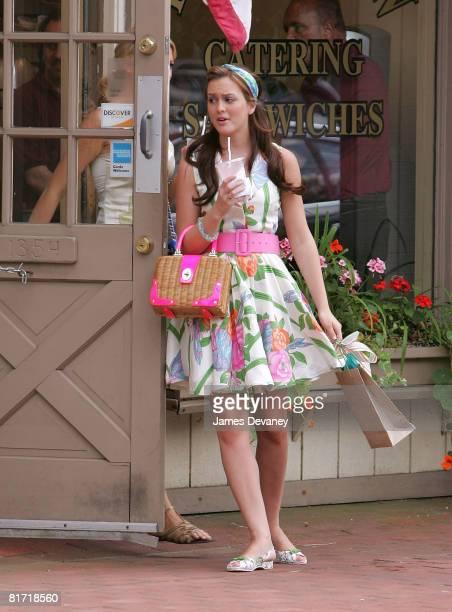 "Leighton Meester on location for ""Gossip Girl"" on June 25, 2008 in Port Washington, New York."