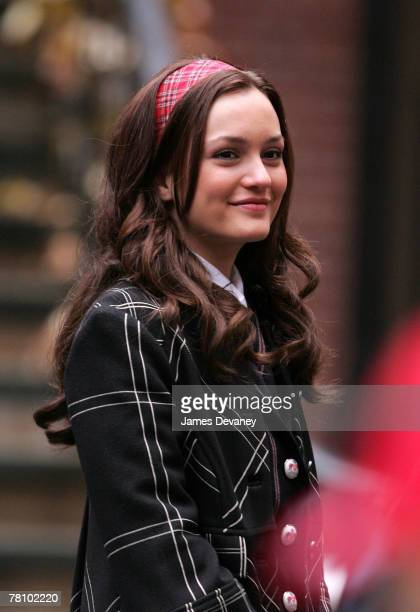 Leighton Meester on location for Gossip Girl on November 26 2007 in New York City New York