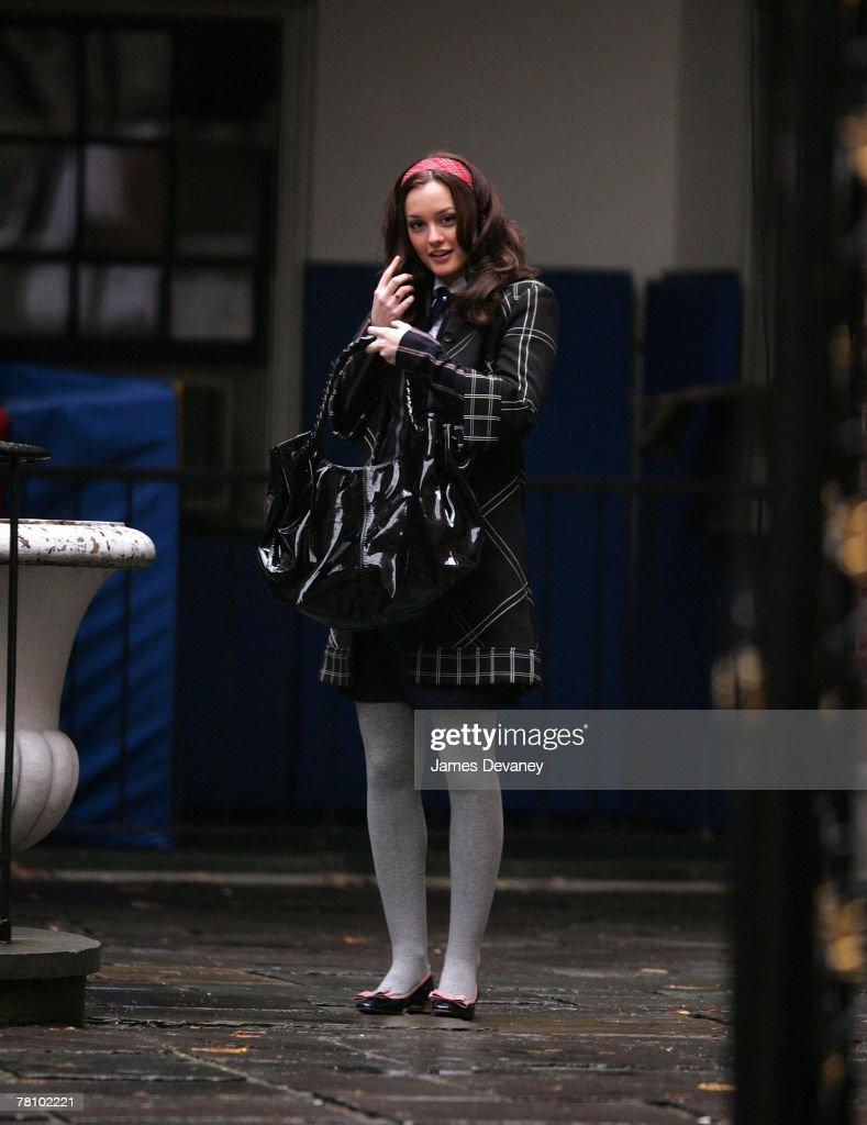 Leighton Meester on location for 'Gossip Girl' on November 26, 2007 in New York City, New York.