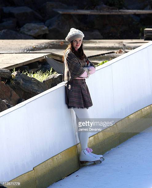 Leighton Meester on the set of Gossip Girl at Wollman Rink on November 2 2007 in New York City