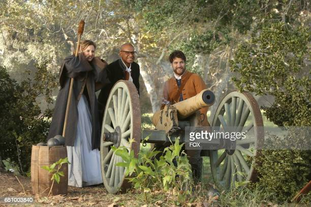 """Leighton Meester, Yasir Lester and Adam Pally in the """"The Shot Heard Round The World"""" episode of MAKING HISTORY airing Sunday, March12 on FOX."""
