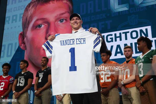Leighton Vander Esch of Boise State poses after being picked overall by the Dallas Cowboys during the first round of the 2018 NFL Draft at ATT...