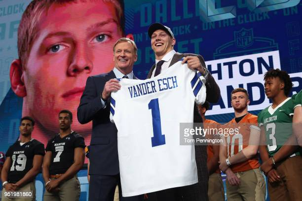 Leighton Vander Esch of Boise State poses with NFL Commissioner Roger Goodell after being picked overall by the Dallas Cowboys during the first round...