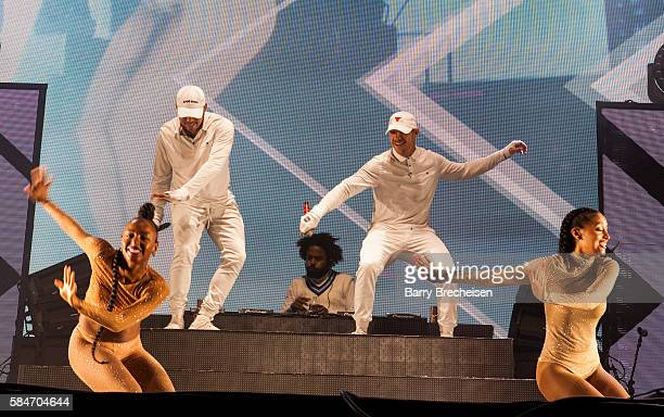 Leighton Walsh aka Walshy Fire Christopher Leacock aka Jillionaire and Thomas Wesley Pentz aka Diplo of Major Lazer perform during 2016 Lollapalooza...