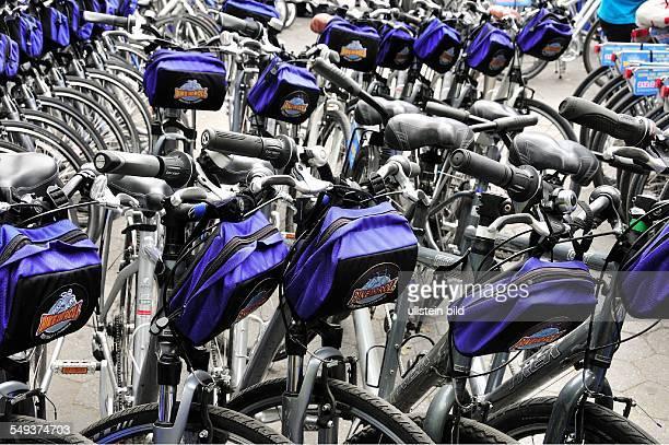 Leihfahrräder am Eingang zum Cenral Park beim Columbus Circle
