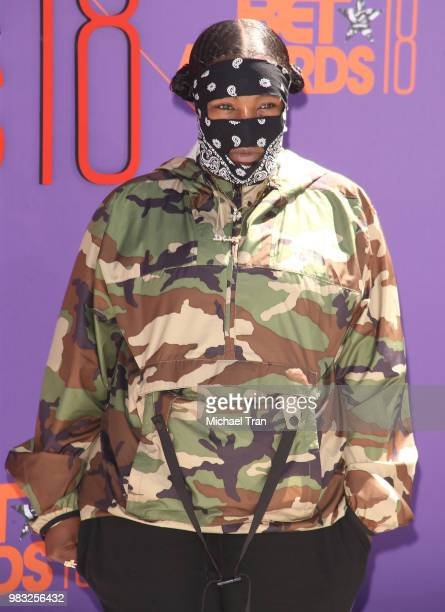 Leikeli47 arrives to the 2018 BET Awards held at Microsoft Theater on June 24 2018 in Los Angeles California