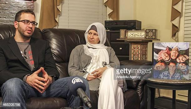 Leila Barakat mother of shooting victim Deah Shaddy Barakat her husband Namee Barakat and her son Faris Barakat speak to the media regarding shooting...