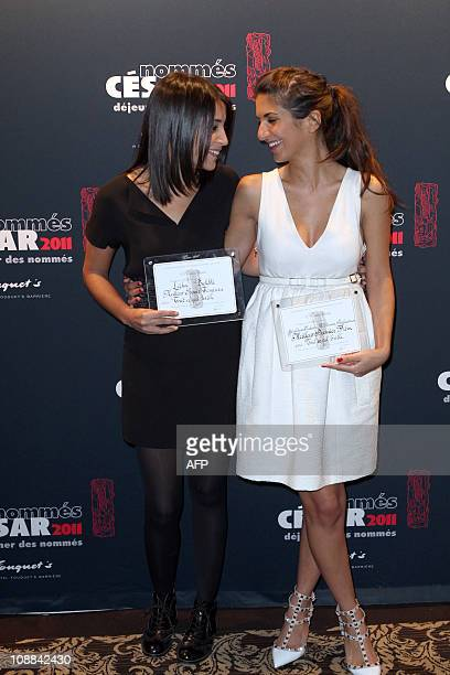 Leila Bekhti French film awards Cesars nominee in the new comer actress category and Geraldine Makache nominee in the Best first film category for...