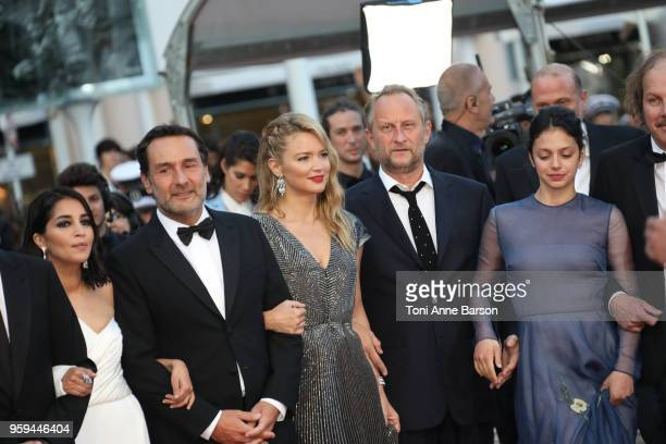 Leila Bekhti Gilles Lellouche Virginie Efira Benoit Poelvoorde and Noee Abita attend the screening of 'Sink Or Swim ' during the 71st annual Cannes...