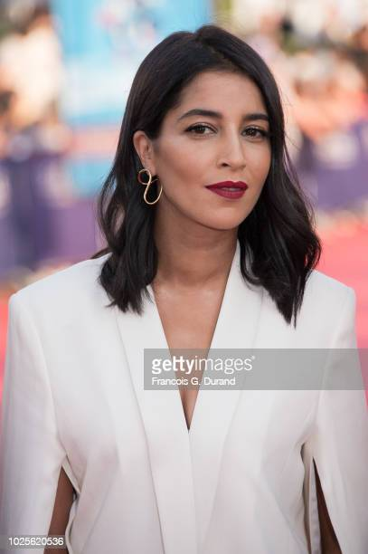 Leila Bekhti poses on the red carpet before the opening ceremony of the 44th Deauville US Film Festival on August 31 2018 in Deauville France