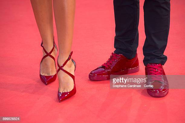 Leila Boumedjane and Kheiron shoe detail attend the In Dubious Battle Premiere during the 42nd Deauville American Film Festival on September 5 2016...