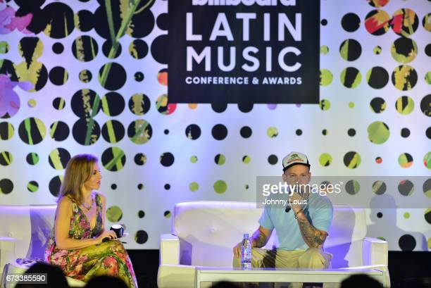 Leila Cobo and Residente during The Billboard Latin Music Conference Awards Iconic Singer/Songwriter QA panel at Ritz Carlton South Beach on April 26...
