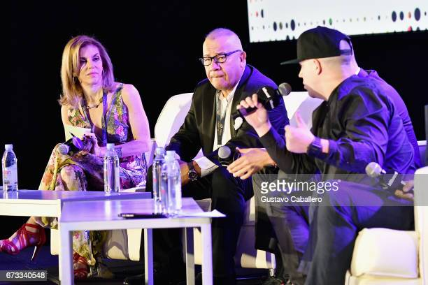 Leila Cobo Henry Cardenas and Juan Diego Medina speak at the Billboard Latin Conference 2017 at Ritz Carlton South Beach on April 26 2017 in Miami...
