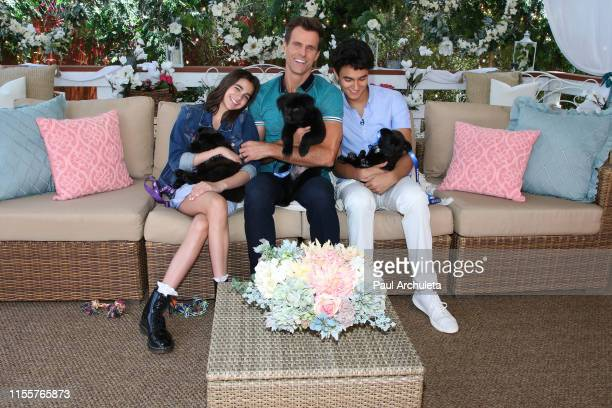 Leila Emmanuelle Mathison Cameron Mathison and Lucas Arthur Mathison on the set of Hallmark's Home Family at Universal Studios Hollywood on June 13...