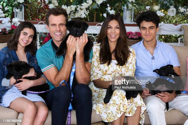 Leila Emmanuelle Mathison Cameron Mathison Vanessa Arevalo and Lucas Arthur Mathison on the set of Hallmark's Home Family at Universal Studios...