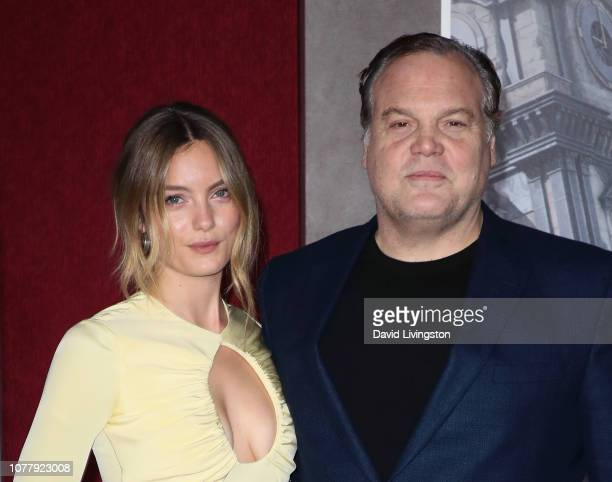 Leila George and father Vincent D'Onofrio attend the premiere of Universal Pictures' Mortal Engines at the Regency Village Theatre on December 05...