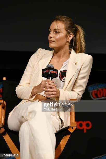 Leila George D'Onofrio speaks onstage at the Mortal Engines panel during New York Comic Con 2018 at The Hulu Theater at Madison Square Garden on...