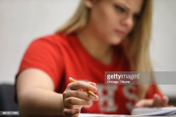 Leila goes over homework assignments at the School Anxiety Program on Monday May 15 2017 at Amita Health Alexian Brothers Behavioral Health Hospital...