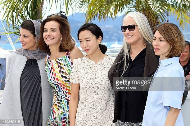 Leila Hatami Carole Bouquet Jane Campion Jeon DoYeon and Sofia Coppola attend the Jury photocall at the 67th Annual Cannes Film Festival on May 14...