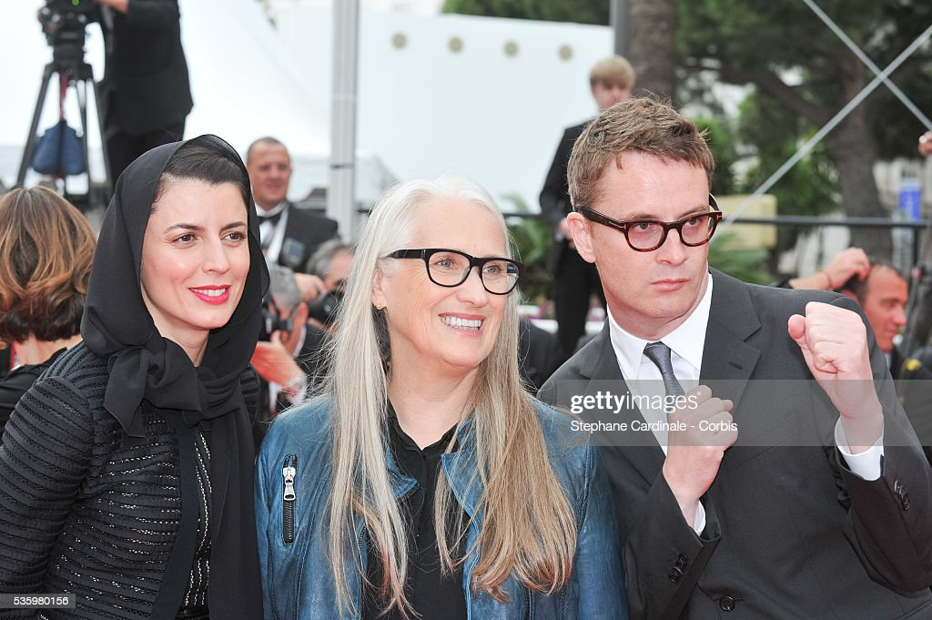Leila Hatami, Jane Campion and Nicolas Winding Refn at the red carpet for the Palme D'Or winners during 67th Cannes Film Festival