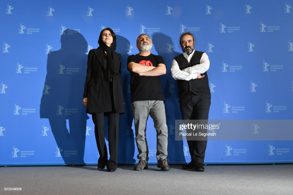 Leila Hatami, Mani Haghighi and Hasan Majuni pose at the 'Pig' (Khook) photo call during the 68th Berlinale International Film Festival Berlin at Grand Hyatt Hotel on February 21, 2018 in Berlin, Germany.