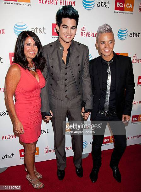 Leila Lambert Adam Lambert and Sauli Koskinen arrive at the Los Angeles Equality Awards on August 13 2011 in Los Angeles California
