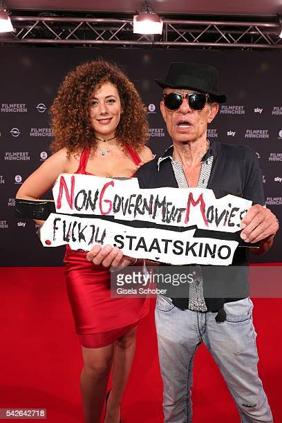 Leila Lowfire and director Klaus Lemke during the opening night of the Munich Film Festival 2016 at Mathaeser Filmpalast on June 23, 2016 in Munich,...