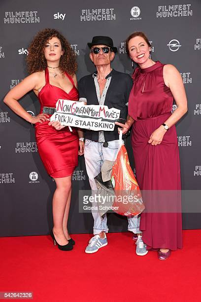Leila Lowfire and Klaus Lemke and Diana Iljine during the opening night of the Munich Film Festival 2016 at Mathaeser Filmpalast on June 23, 2016 in...
