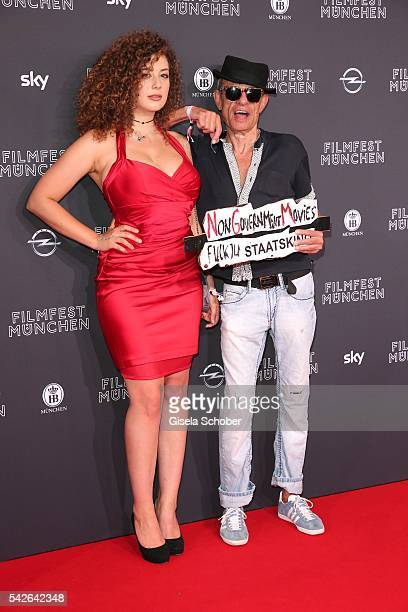 Leila Lowfire and Klaus Lemke during the opening night of the Munich Film Festival 2016 at Mathaeser Filmpalast on June 23, 2016 in Munich, Germany.