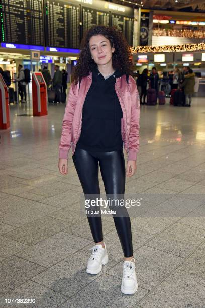 Leila Lowfire leaves for RTL TV show 'I'm a celebrity- Get Me Out Of Here!' in Australia at Frankfurt International Airport on January 5, 2018 in...