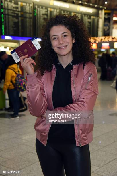 Leila Lowfire leaves for RTL TV show 'I'm a celebrity Get Me Out Of Here' in Australia at Frankfurt International Airport on January 5 2018 in...