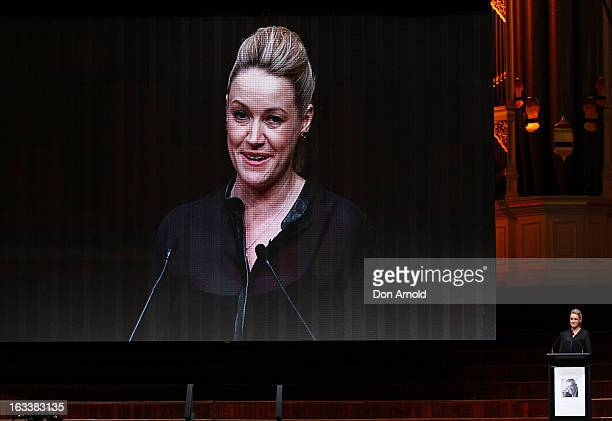 Leila McKinnon addresses attendees at the public memorial for Peter Harvey at Sydney Town Hall on March 9 2013 in Sydney Australia Television...