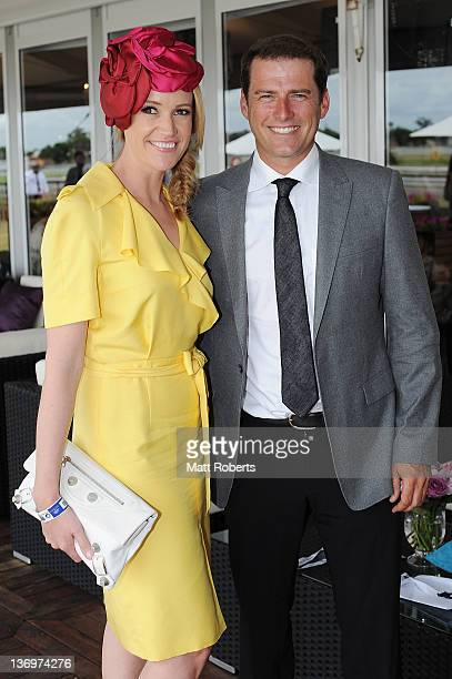 Leila McKinnon and Karl Stefanovic poses for a photo at the VIP marquee on Magic Millions Raceday at the Gold Coast Turf Club on January 14 2012 in...
