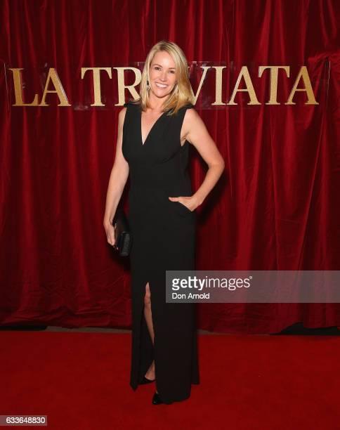 Leila McKinnon arrives ahead of La Traviata opening night on February 3 2017 in Sydney Australia