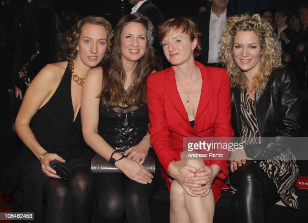 Leila Moysich Dana Schweiger Nina Petri and Jessica Stockmann attend the BRIGITTE fashion event at the Hamburg Cruise Center on January 28 2011 in...