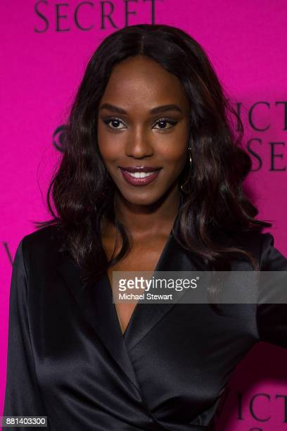 Leila Nda attends the 2017 Victoria's Secret Fashion Show viewing party pink carpet at Spring Studios on November 28 2017 in New York City