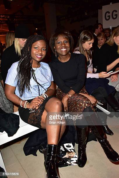 Leila Roker and Deborah Roberts attend the Lela Rose Fall 2016 show during New York Fashion Week The Shows at The Gallery Skylight at Clarkson Sq on...