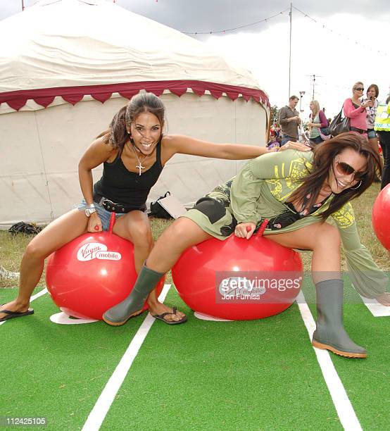 Leilani and Michelle Heaton in the Virgin Mobile Louder Lounge at the V Festival