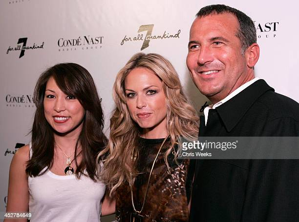 Leilani Augustine from left Stylist Rachel Zoe and Mike Egeck of 7 For All Mankind attend the opening of the 7 For All Mankind store on Robertson...