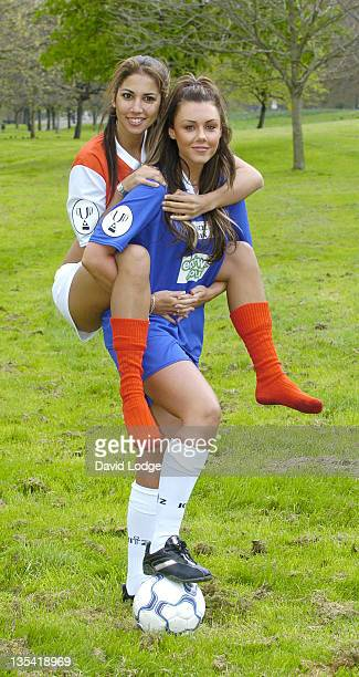 Leilani Dowding and Michelle Heaton during Music Industry Soccer Six 2005 Launch at Hyde Park in London Great Britain