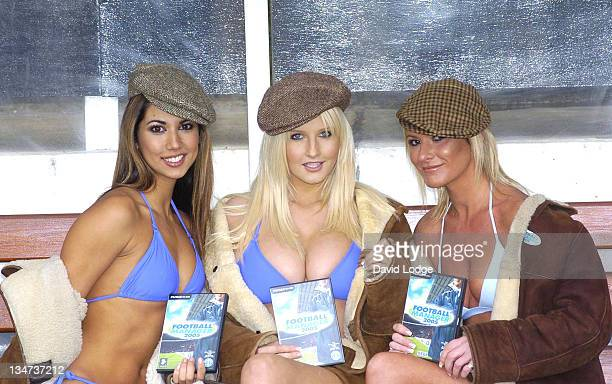 Leilani Dowding Michelle Marsh and Alex Best during Sega Launches Football Manager 2005 at Craven Cottage Fulham Football Club in London Great Britain