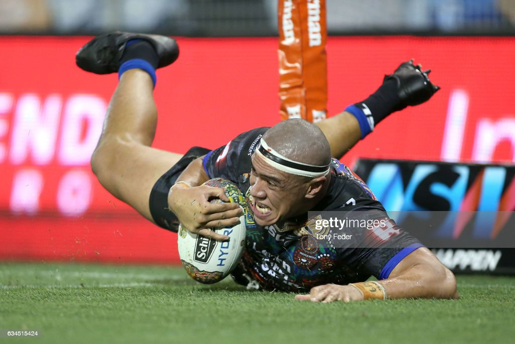 Leilani Latu of the Indigenous All Stars scores a try during the NRL All Stars match between the 2017 Harvey Norman All Stars and the NRL World All Stars at McDonald Jones Stadium on February 10, 2017 in Newcastle, Australia.