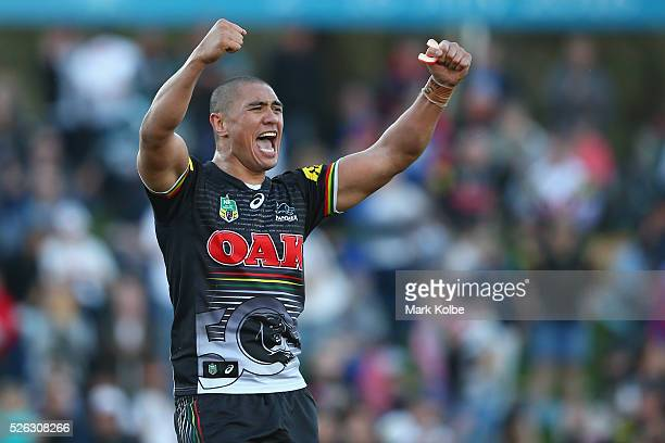 Leilani Latu of the Panthers celebrates victory during the round nine NRL match between the Penrith Panthers and the Canberra Raiders at Carrington...