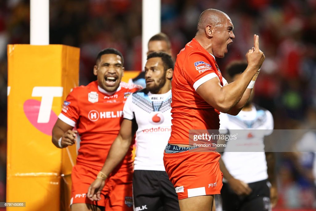 Leilani Latu of Tonga celebrates after scoring a try during the 2017 Pacific Test Invitational match between Tonga and Fiji at Campbelltown Sports Stadium on May 6, 2017 in Sydney, Australia.