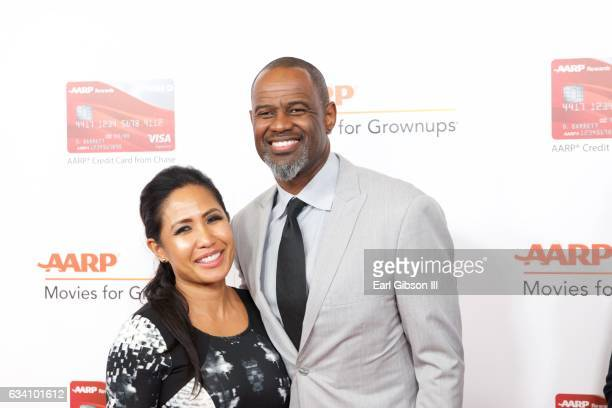 Leilani Mendoza and singer Brian McKnight attend AARP's 16th Annual Movies For Grownups Awards at the Beverly Wilshire Four Seasons Hotel on February...