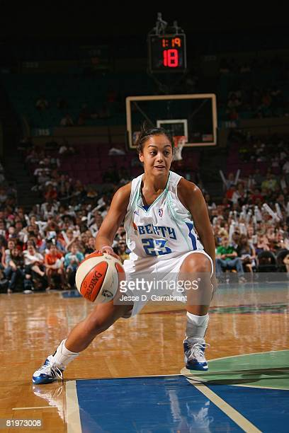 Leilani Mitchell of the New York Liberty drives against the Detroit Shock during the game on July 12 2008 at Madison Square Garden in New York City...