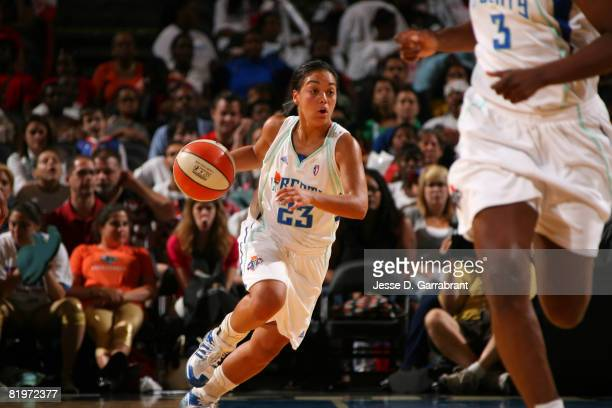 Leilani Mitchell of the New York Liberty drives against the Washington Mystics during the WNBA game at Madison Square Garden July 17 2008 in New York...