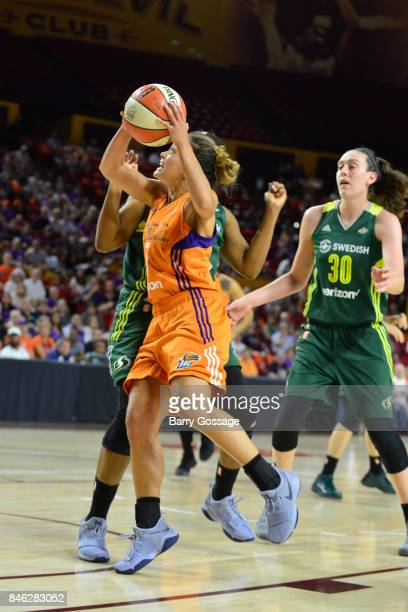 Leilani Mitchell of the Phoenix Mercury goes to the basket during the game against the Seattle Storm in Round One of the 2017 WNBA Playoffs on...
